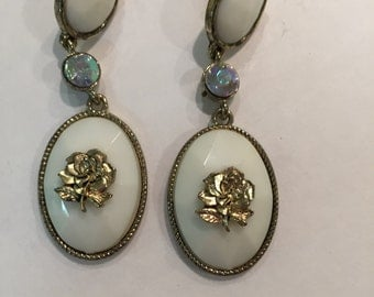 Vintage Gold Plated White Earrings w/Gold Rose