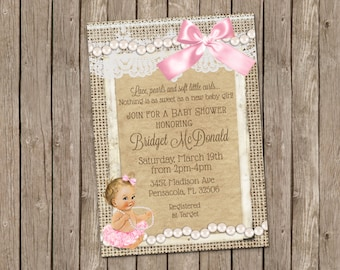 Lace And Pearls Baby Shower Invitation  Printable 5x7