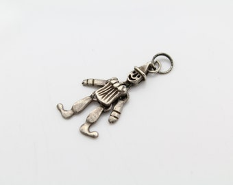 VTG Sterling Silver Hinged Clown Pendant With Moveable Arms and Legs. [7247]