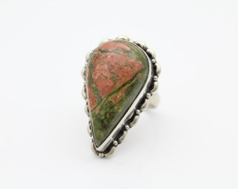 Large Unakite Sterling Silver Teardrop Ring Pink and Green Sz 7. [7983]