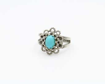 Vintage Sarah Coventry Ring with Faux Turquoise in Sterling Silver Size 3.75. [8600]