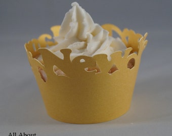 Shimmer Gold Happy New Year Cupcake Wrappers, Set of 12