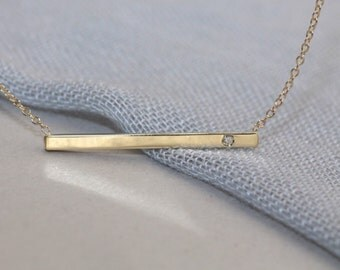 """14k solid gold 2mm X 1 1/4"""" inch long genuine diamond bar necklace minimalist necklace"""