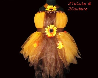 Chocolate and Pumpkin Gold Tulle Dress