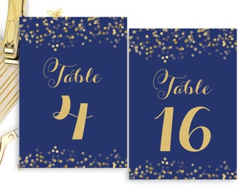 Printable Table Numbers Navy Blue and Gold Table Number 5x7 4x6 Calligraphy Table Numbers PDF The Catalina