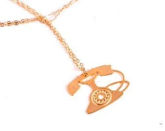 Gold Phone Necklace Telephone Necklace Phone Pendant Phone Charm Telephone Jewelry Telephone Pendant Rotary Phone Rotary Telephone
