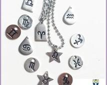 Zodiac Sign Stamped Pewter Tag (Pick Charm & Chain) Astrology Astronomy Star Aries Taurus Cancer Leo Sag Libra Capricorn Virgo Gemini
