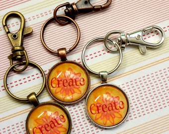 SALE 25% off! CREATE Metal and Glass Keychain - Great Stocking Stuffer!