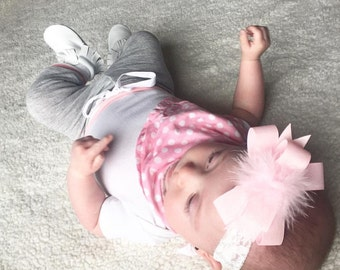 Light Pink Sparkly Hairbow Pigtail Set