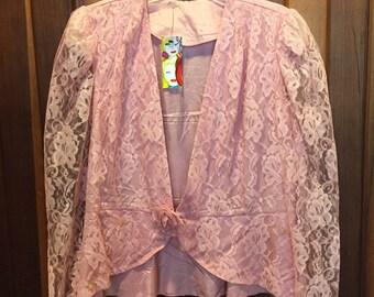 1980s / Pink Rose Pattern Lace Blazer