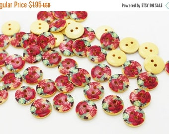 10 Red Flower Wood Button, Vintage Floral Button, Coat Button, Children Button, Flower Print Button, Two Holes Sew On Button, Red, 15mm