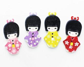 Kimono Girl Wood Button, Japanese Kimono Button, Children Button, Special Shape Button, Floral Pattern Button, Natural Wooden Buttons