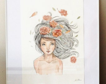 Original Watercolor Artwork - hair with flowers