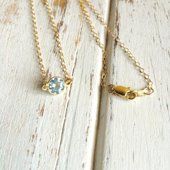 Stunning 14k Gold Aquamarine (6mm) Cabochon Necklace ~ All Pieces are 14k Gold
