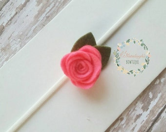 Neon Pink Felt Flower Headbands - Baby Headband - One Size Fit All  Flower Girl - Felt Bows - Photo Prop - Small Flowers - Newborn - Toddler