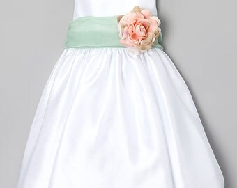 Poly-dupioni Flower Girl Dress with Organza Sash and Pin-on Flower