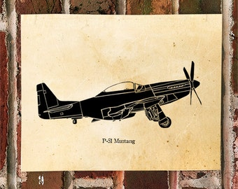 KillerBeeMoto: Limited Print P-51 Mustang Fighter Aircraft Side View Print 1 of 50