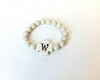 Monogrammed Bead Bracelet, Initial stretch bracelet, Stackable Bracelet