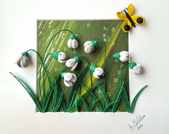 Painting three-dimensional quilling-snowdrops (frame included)