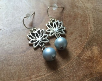Lotus Blue - dangling earrings with silvertone lotus flower and frosted blue glassbead - zen, pastel, romantic, soft