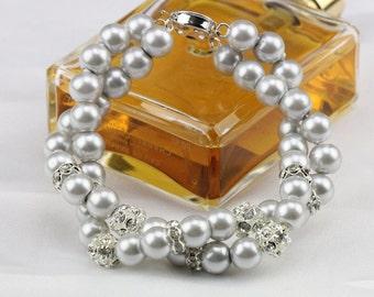 Twisted grey pearl bracelet,double strand pearl bracelet,wedding light gray pearl bracelet,bridal crystal bracelet,2 row bridesmaid bracelet