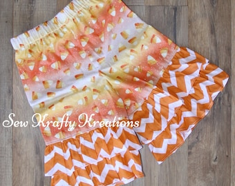 Girl's Ruffle Pants - Halloween Inspired Sparkly Candy Corn with Orange Chevron Ruffles