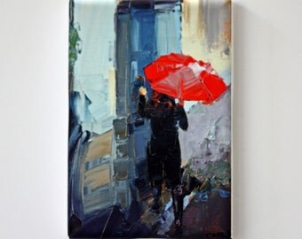 Gifts Under 30 USD | Tiny Canvas | Red Umbrella | Canvas Print | Wall Art | Colorful Art | Small Art Print | Collectible Art | Miniature