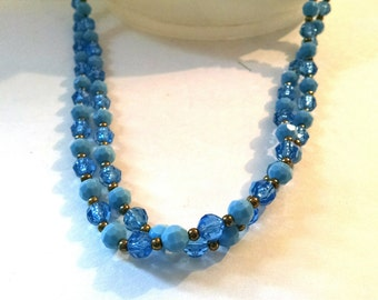 Vintage Necklace Multi-colored Blue and Gold Tone Long Necklace Estate Jewelry
