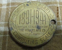 Vintage 1941 50th Anniversary Dayton Scale Division Hobart Mfg Co Troy Ohio Computing Scale Token Coin Medallion