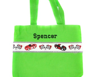 Kids Car Bag, Race Car Tote Bag with Monogram Name Embroidered on it, Personalized Bag, Swin Bag, Toy Bag, Boy Tote Bag