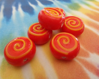 Bright Fun Coin Glass Beads Opaque Red Yellow Maze Square Flat Chunky Lampwork Glass Handmade Beads Red Yellow Maze Colorful Bright Beads