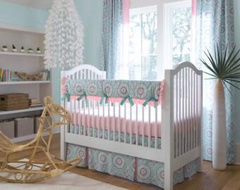 Girl Baby Crib Bedding: Aqua Haute Baby 4-Piece Crib Bedding Set by Carousel Designs