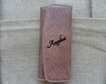 Classic Leather Keychain buffered Hand with Engraving