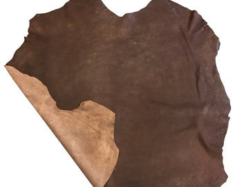 Brown full leather skins with a rustic finish in genuine lambskin leather fabric FS925-7