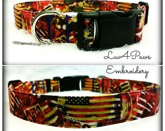 Rustic Old Glory Americana Adjustable Dog Collar
