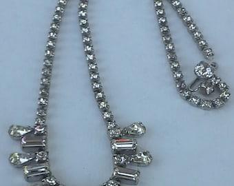 Weiss 1960's choker necklace rhinestones silver tone