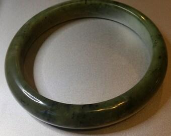 Bangle bracelet Handmade australian nephrite jade dark green