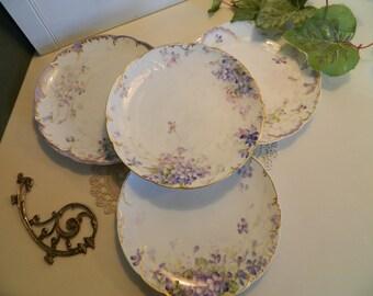 Antique Hand Painted Haviland Limoges France Dessert Plates - Set of 4