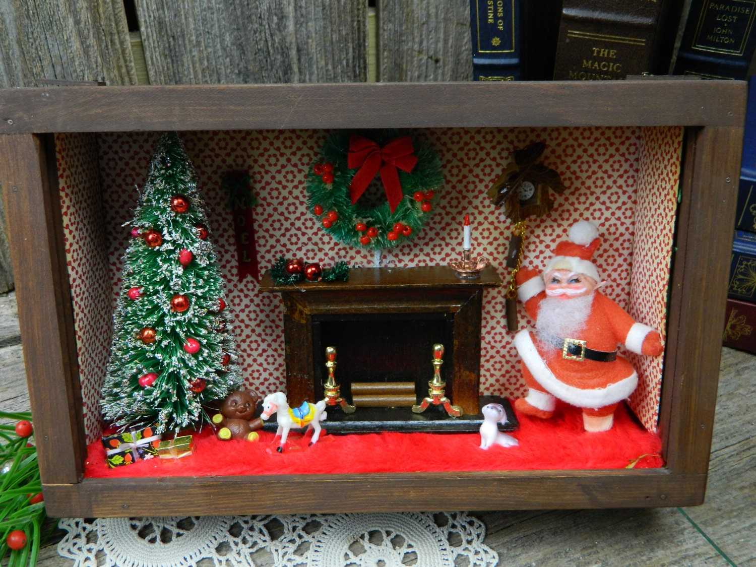 Kitchen Diorama Made Of Cereal Box: Vintage Mid Century Christmas Diorama Shadow Box Handmade