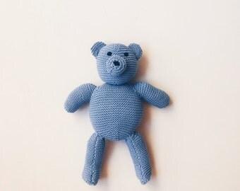 100% cotton blue dot bear