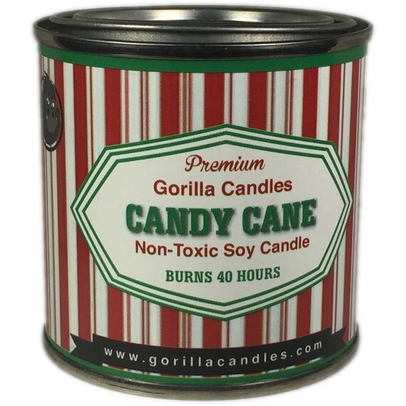 Candy Cane Soy Candle 1/2 pint paint can Man Candle Christmas, Holiday Candle