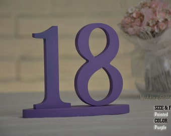 Purple Table Number SET 1-40, Table Number, Wedding Reception Table, 10 table numbers