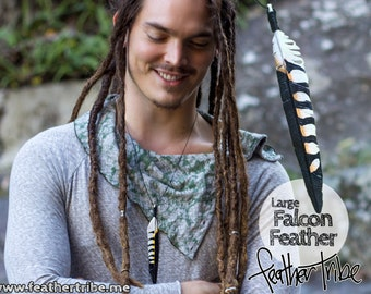 Falcon Feather Necklace - Large - Spirit Bird Pendant - Hand Carved Wood - Feather Tribe