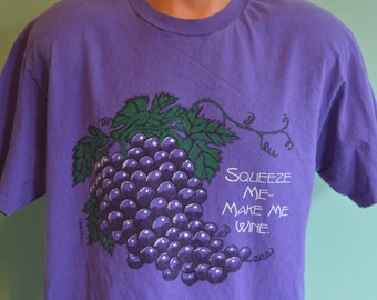 "90s T-Shirt ""Squeeze Me Make Me Wine"" Napa Valley Wine Lover Large Purple Tee"