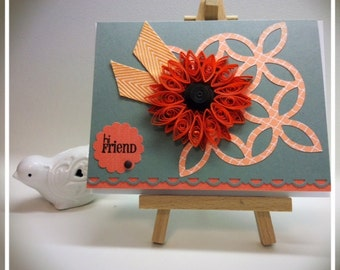 Hello Friend quilled greeting card