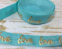 5 yards Mint Gold Foil Love  fold over elastic FOE 5/8 inch supply diy birthday party favor team gift sewing swim suit costume white tie
