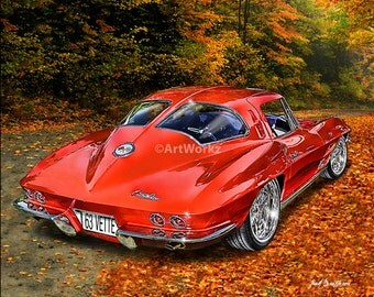 Auto Art - 1963 Corvette Split Rear Window - Classi Car- Corvette - Giclee Print - AW4