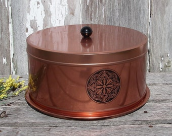 Vintage Cake Carrier -  Metal Cake Plate and Cover -  Retro Copper Kitchen Decor -  Cake Storage - Made in USA  - Tuttle Corporation