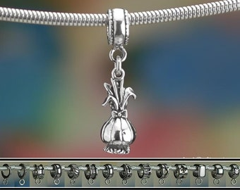 Sterling Silver Onion Charm or European Style Charm Bracelet Solid 925