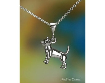 """Sterling Silver Chihuahua Necklace 16-24"""" Chain or Pendant Only .925"""